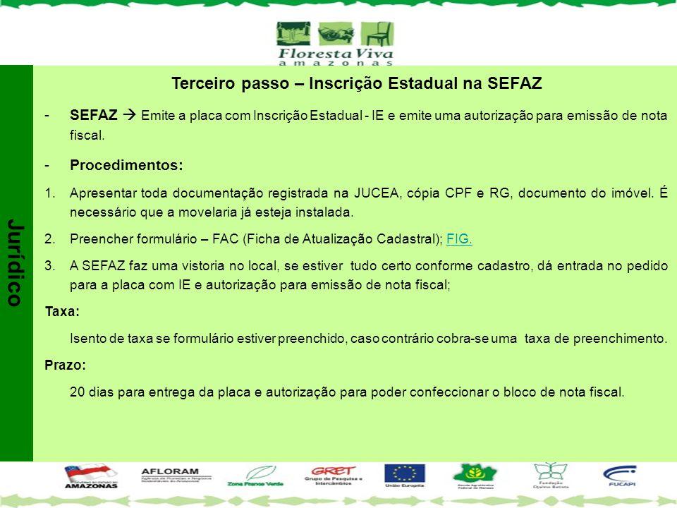 Terceiro passo – Inscrição Estadual na SEFAZ -SEFAZ  Emite a placa com Inscrição Estadual - IE e emite uma autorização para emissão de nota fiscal. -