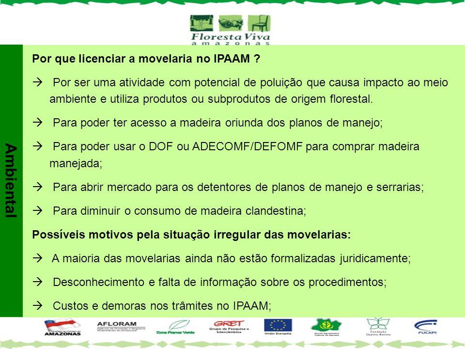 Por que licenciar a movelaria no IPAAM ?  Por ser uma atividade com potencial de poluição que causa impacto ao meio ambiente e utiliza produtos ou su