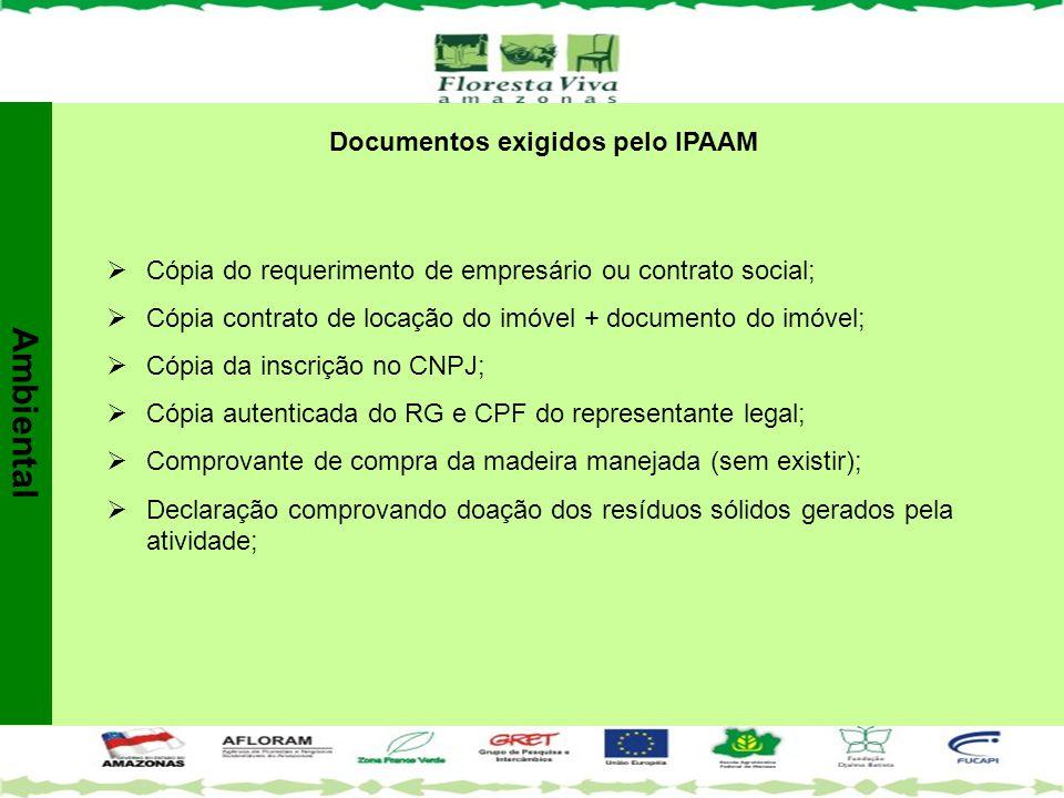 Documentos exigidos pelo IPAAM  Cópia do requerimento de empresário ou contrato social;  Cópia contrato de locação do imóvel + documento do imóvel;