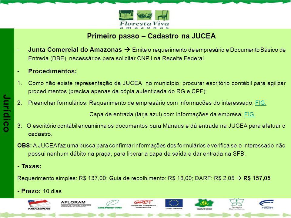 Primeiro passo – Cadastro na JUCEA -Junta Comercial do Amazonas  Emite o requerimento de empresário e Documento Básico de Entrada (DBE), necessários
