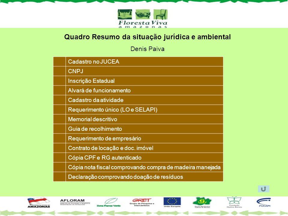 Quadro Resumo da situação jurídica e ambiental Denis Paiva Cadastro no JUCEA CNPJ Inscrição Estadual Alvará de funcionamento Cadastro da atividade Req