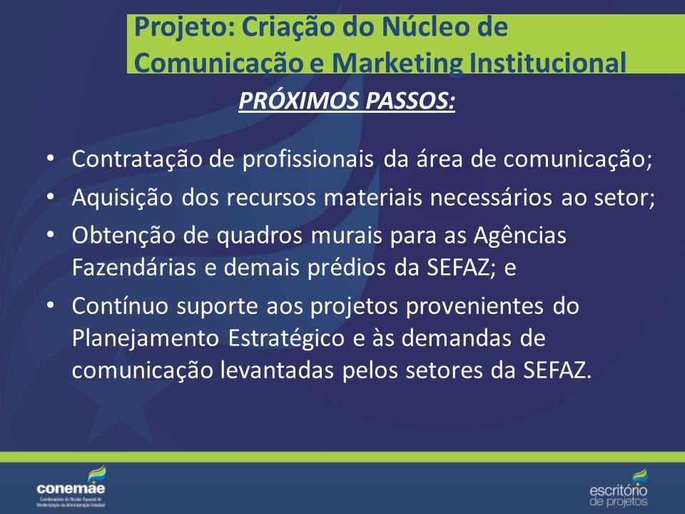 Projeto: Criação do Núcleo de Comunicação e Marketing Institucional Inserção do Núcleo de Comunicação e Marketing Institucional no Organograma da SEFA