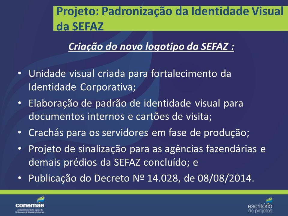 Projeto: Elaboração da Política de Comunicação da SEFAZ Aprovação da Política de Comunicação pelo próximo Governo; Publicação da Política; e Divulgaçã