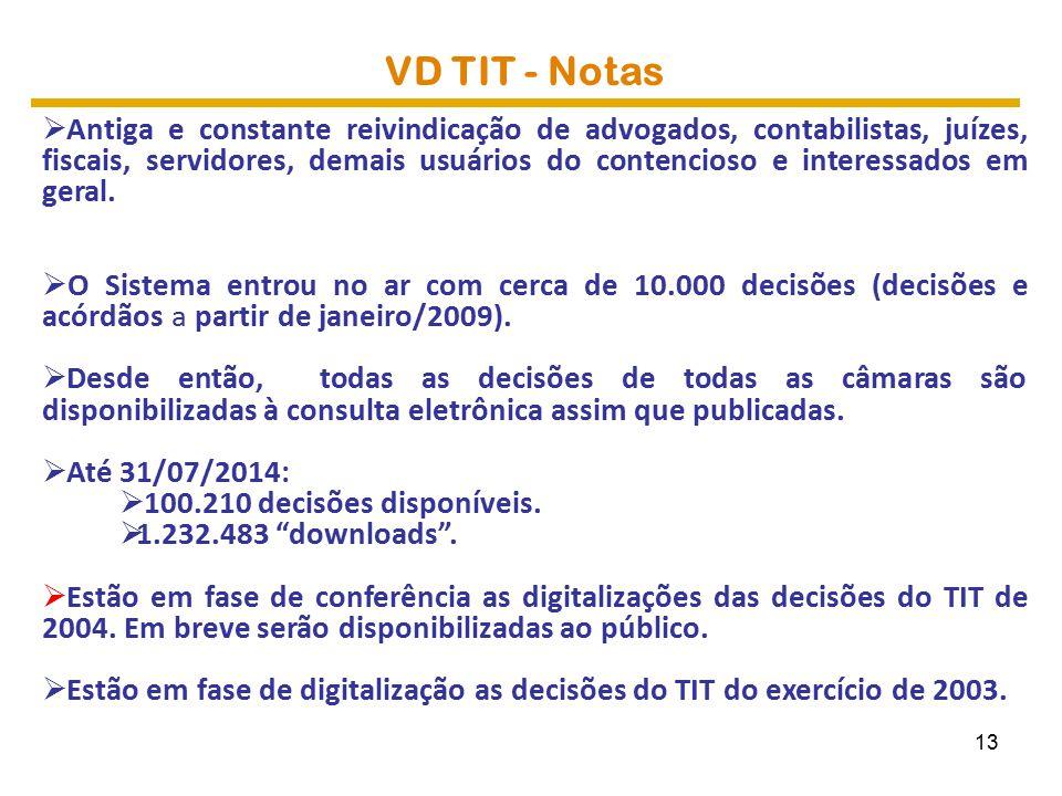 VD TIT - Notas  Antiga e constante reivindicação de advogados, contabilistas, juízes, fiscais, servidores, demais usuários do contencioso e interessados em geral.