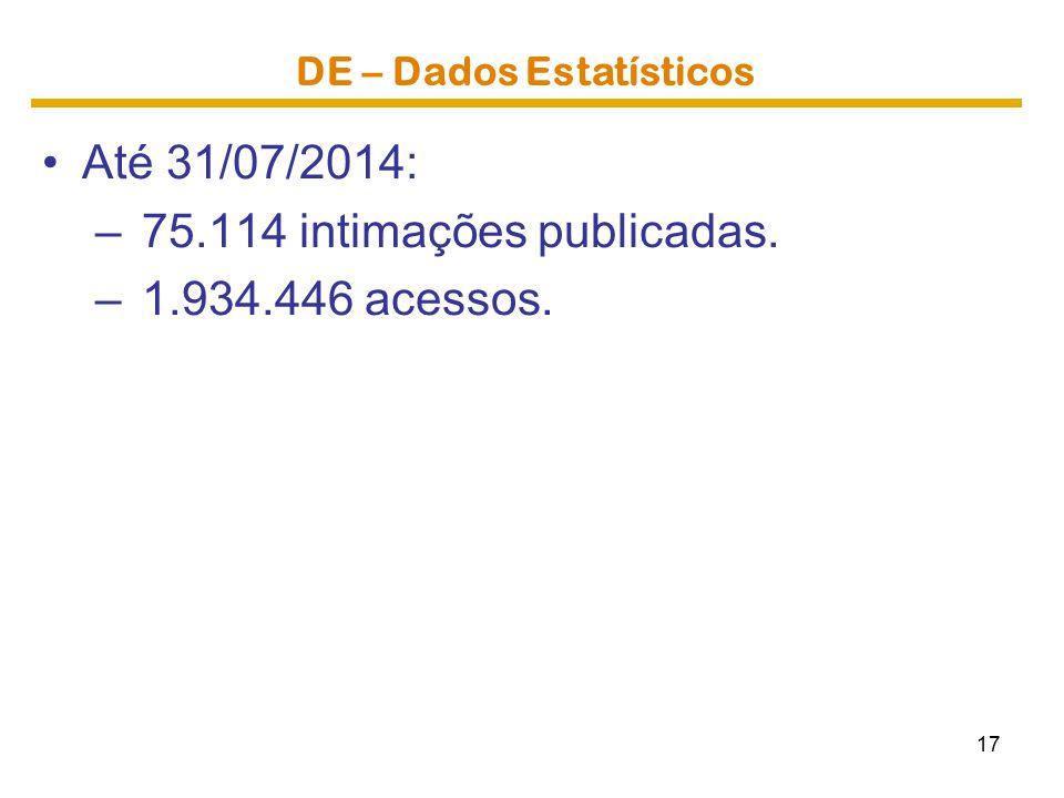 DE – Dados Estatísticos Até 31/07/2014: – 75.114 intimações publicadas. – 1.934.446 acessos. 17