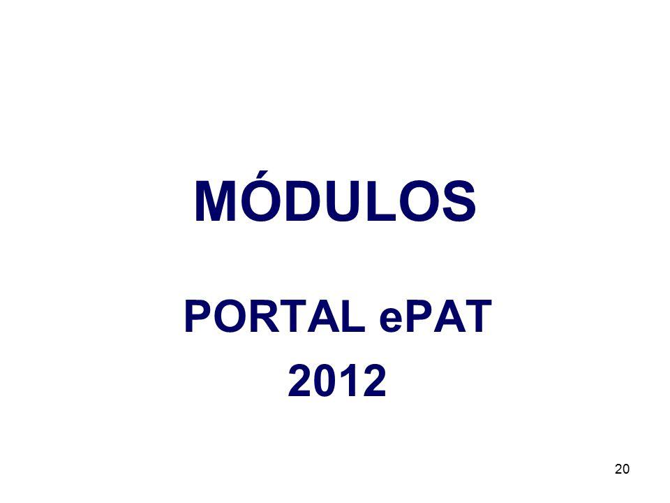 MÓDULOS PORTAL ePAT 2012 20