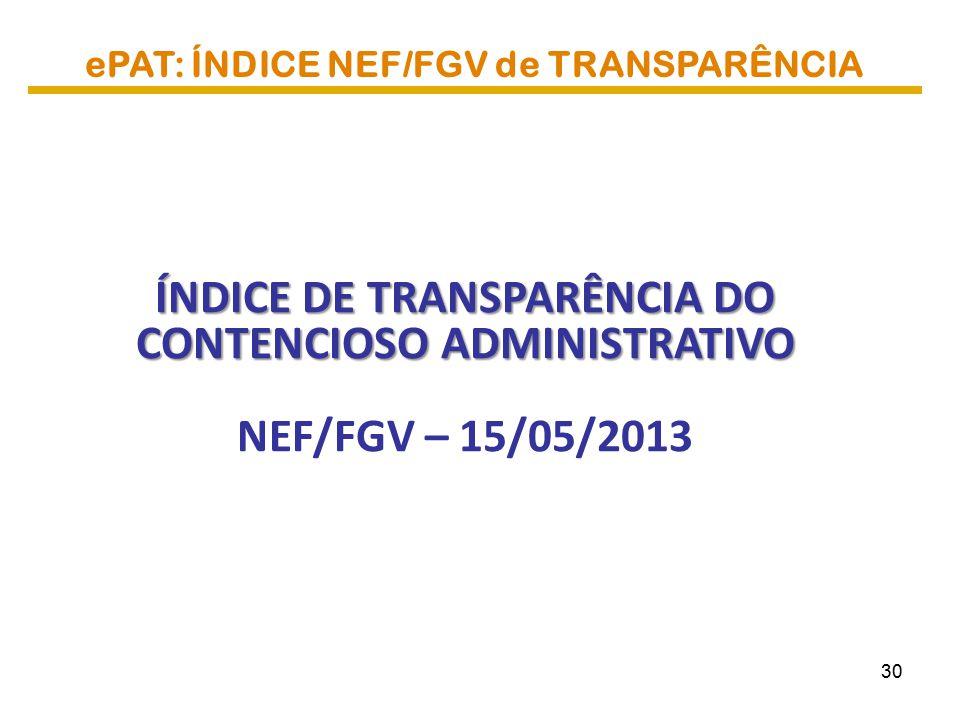 ePAT: ÍNDICE NEF/FGV de TRANSPARÊNCIA ÍNDICE DE TRANSPARÊNCIA DO CONTENCIOSO ADMINISTRATIVO NEF/FGV – 15/05/2013 30