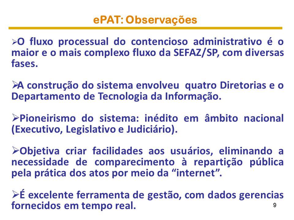 ePAT: Abrangência  Lavratura eletrônica de autos de infração (AIIM) e notificações:  Notificação eletrônica – DEC;  Manifestações fiscais;  Provas digitalizadas;  Acesso pela internet .