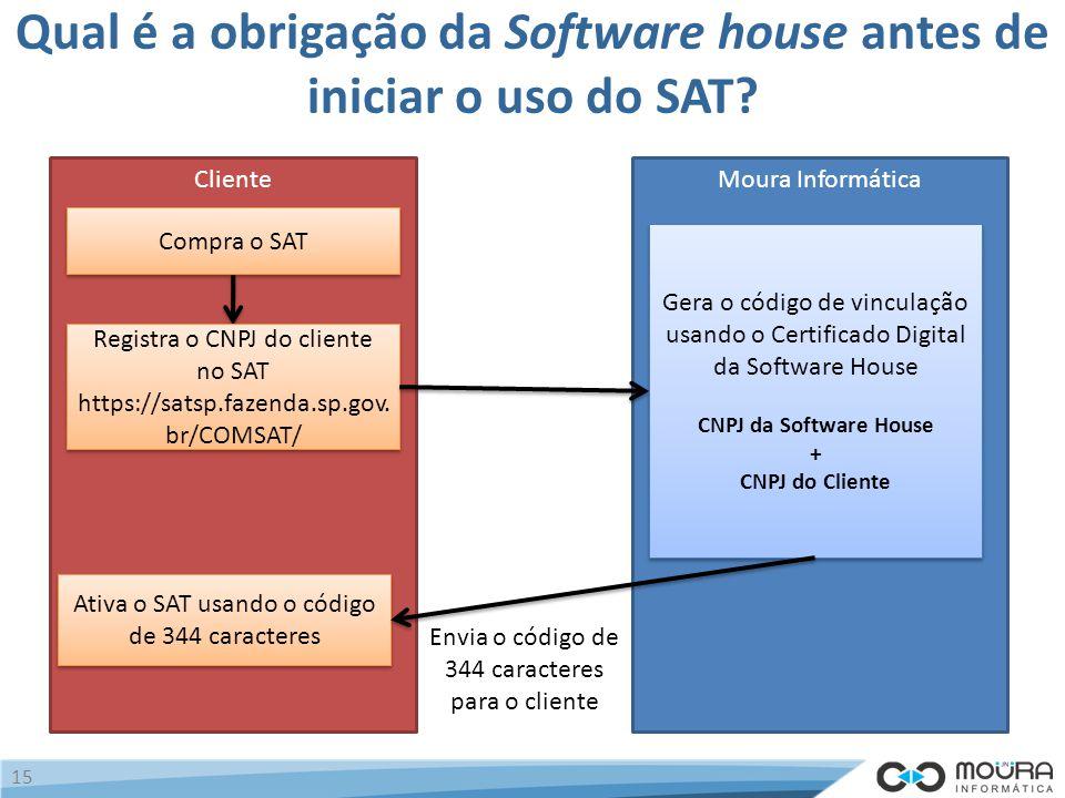 Qual é a obrigação da Software house antes de iniciar o uso do SAT.