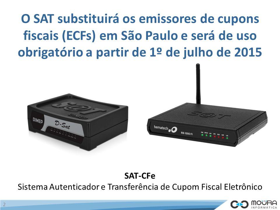 O SAT substituirá os emissores de cupons fiscais (ECFs) em São Paulo e será de uso obrigatório a partir de 1º de julho de 2015 SAT-CFe Sistema Autenticador e Transferência de Cupom Fiscal Eletrônico 2