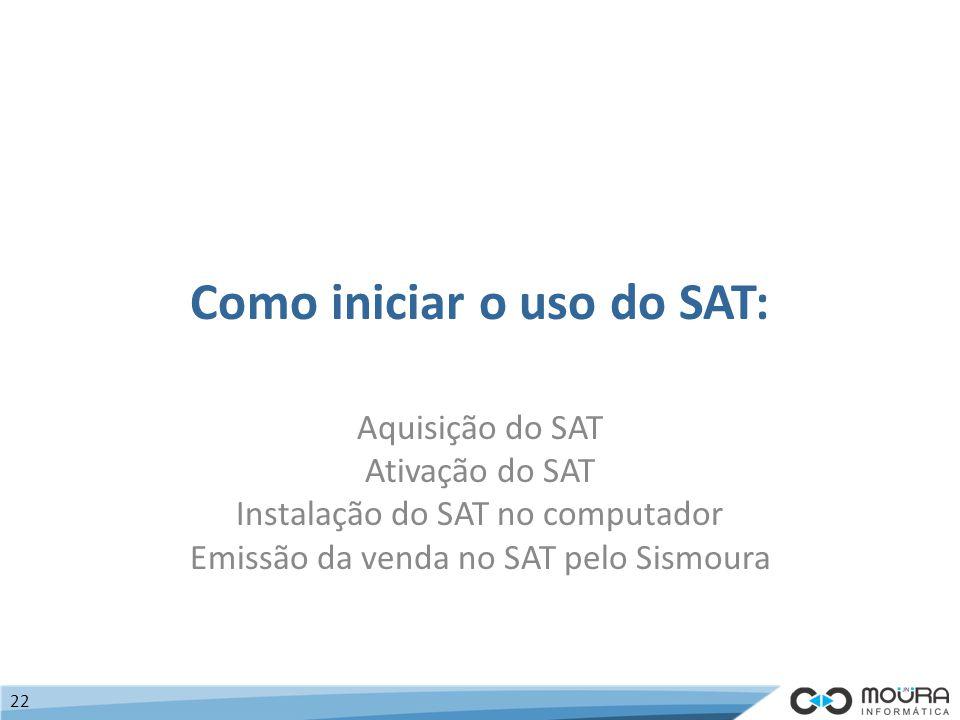Como iniciar o uso do SAT: Aquisição do SAT Ativação do SAT Instalação do SAT no computador Emissão da venda no SAT pelo Sismoura 22