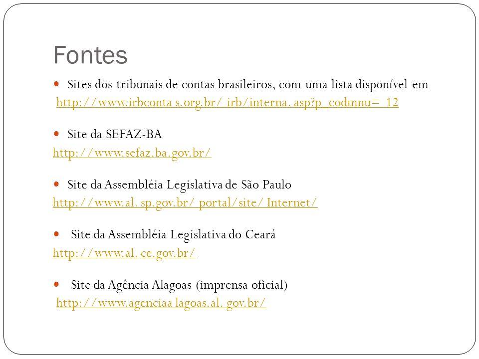 Fontes Sites dos tribunais de contas brasileiros, com uma lista disponível em http://www.irbconta s.org.br/ irb/interna. asp?p_codmnu= 12 Site da SEFA