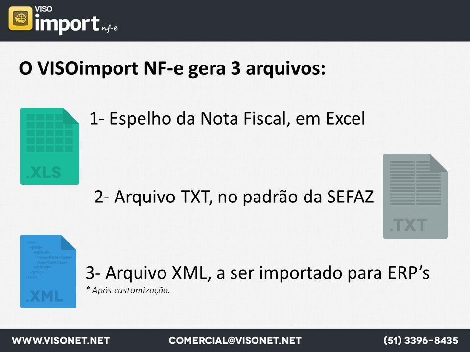 O VISOimport NF-e gera 3 arquivos: 1- Espelho da Nota Fiscal, em Excel 3- Arquivo XML, a ser importado para ERP's * Após customização. 2- Arquivo TXT,