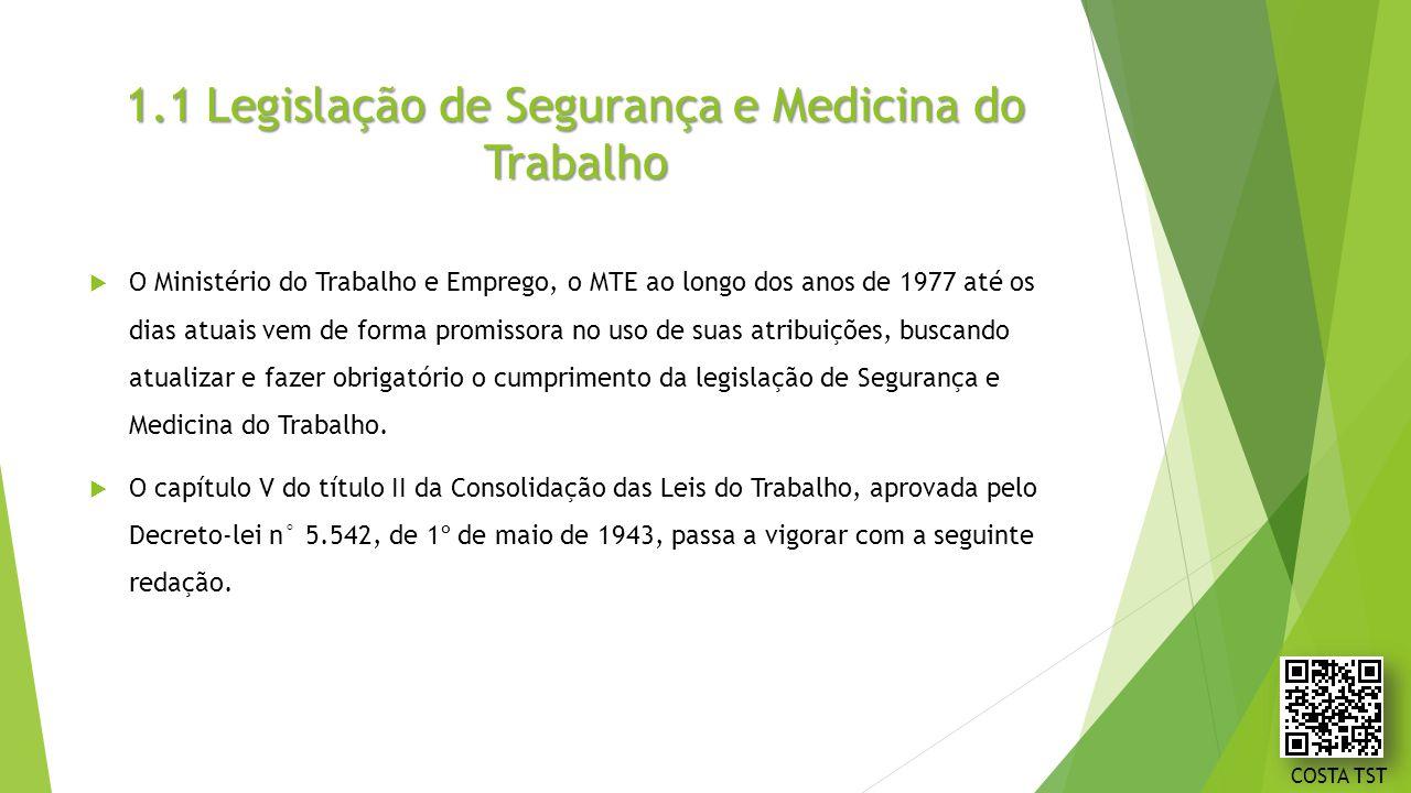1.1 Legislação de Segurança e Medicina do Trabalho  O Ministério do Trabalho e Emprego, o MTE ao longo dos anos de 1977 até os dias atuais vem de for