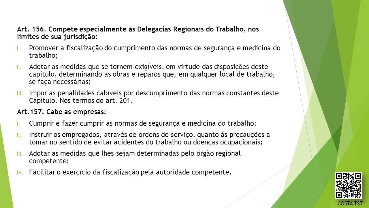 Art. 156. Compete especialmente ás Delegacias Regionais do Trabalho, nos limites de sua jurisdição: I. Promover a fiscalização do cumprimento das norm