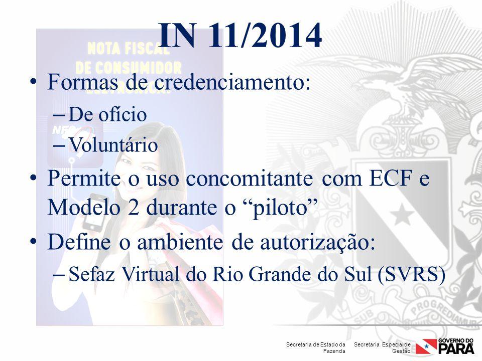 Secretaria Especial de Gestão Secretaria de Estado da Fazenda IN 11/2014 Formas de credenciamento: – De ofício – Voluntário Permite o uso concomitante