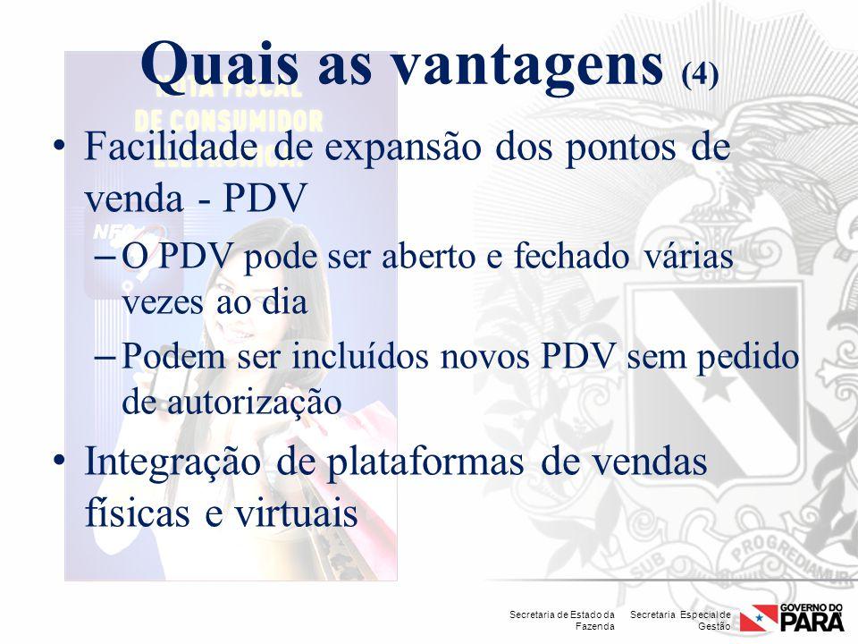 Secretaria Especial de Gestão Secretaria de Estado da Fazenda Quais as vantagens (4) Facilidade de expansão dos pontos de venda - PDV – O PDV pode ser