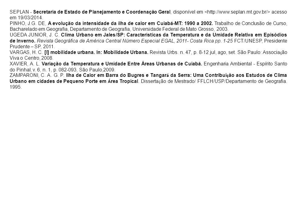 SEPLAN - Secretaria de Estado de Planejamento e Coordenação Geral, disponível em acesso em 19/03/2014. PINHO, J.G. DE, A evolução da intensidade da il