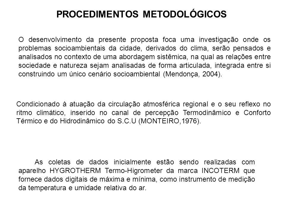 A análise do ritmo climático será baseada nas propostas teórico- metodológicas de Monteiro (1976, 1994) e Tarifa (2006).