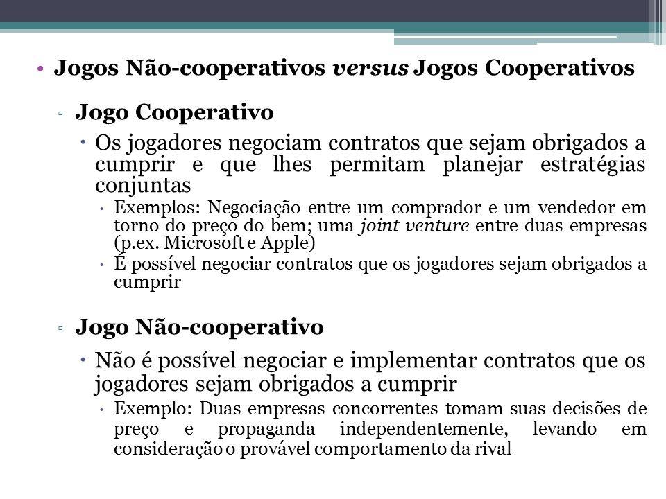 Jogos Não-cooperativos versus Jogos Cooperativos ▫ Jogo Cooperativo  Os jogadores negociam contratos que sejam obrigados a cumprir e que lhes permita