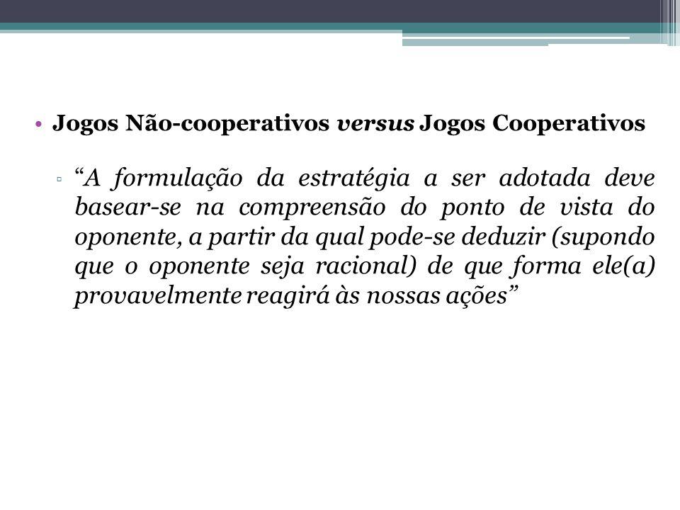 """Jogos Não-cooperativos versus Jogos Cooperativos ▫ """"A formulação da estratégia a ser adotada deve basear-se na compreensão do ponto de vista do oponen"""