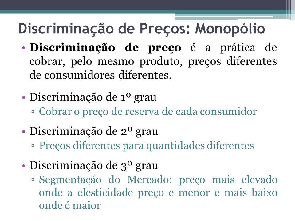 Discriminação de Preços: Monopólio Discriminação de preço é a prática de cobrar, pelo mesmo produto, preços diferentes de consumidores diferentes. Dis