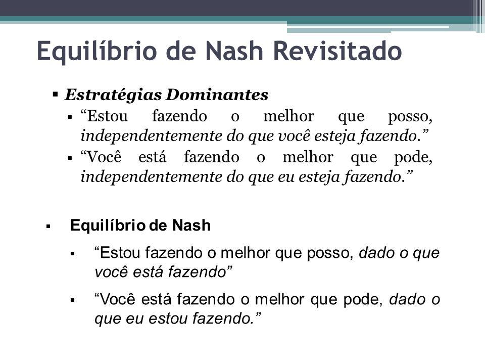 """Equilíbrio de Nash Revisitado  Estratégias Dominantes  """"Estou fazendo o melhor que posso, independentemente do que você esteja fazendo.""""  """"Você est"""