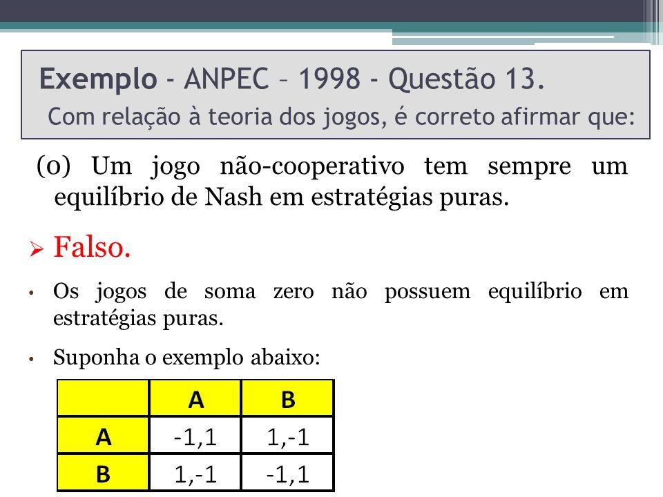 Exemplo - ANPEC – 1998 - Questão 13. Com relação à teoria dos jogos, é correto afirmar que: (0) Um jogo não-cooperativo tem sempre um equilíbrio de Na