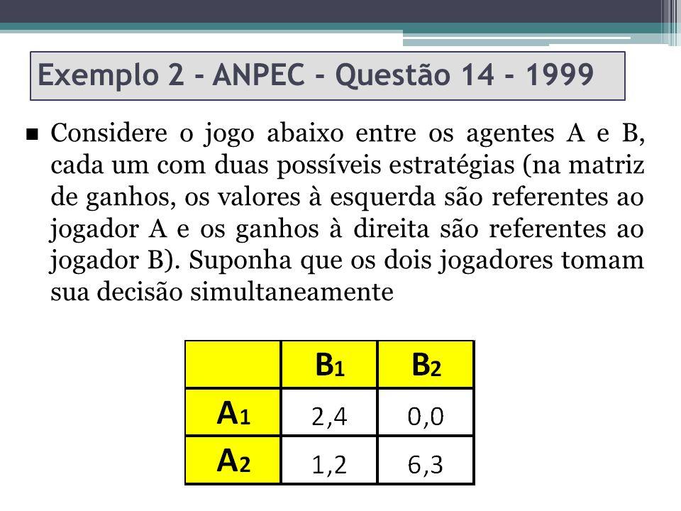 Exemplo 2 - ANPEC - Questão 14 - 1999 Considere o jogo abaixo entre os agentes A e B, cada um com duas possíveis estratégias (na matriz de ganhos, os