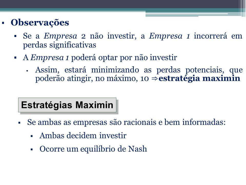  Observações  Se a Empresa 2 não investir, a Empresa 1 incorrerá em perdas significativas  A Empresa 1 poderá optar por não investir  Assim, estar