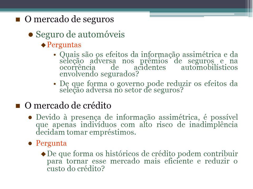 O mercado de seguros Seguro de automóveis  Perguntas Quais são os efeitos da informação assimétrica e da seleção adversa nos prêmios de seguros e na