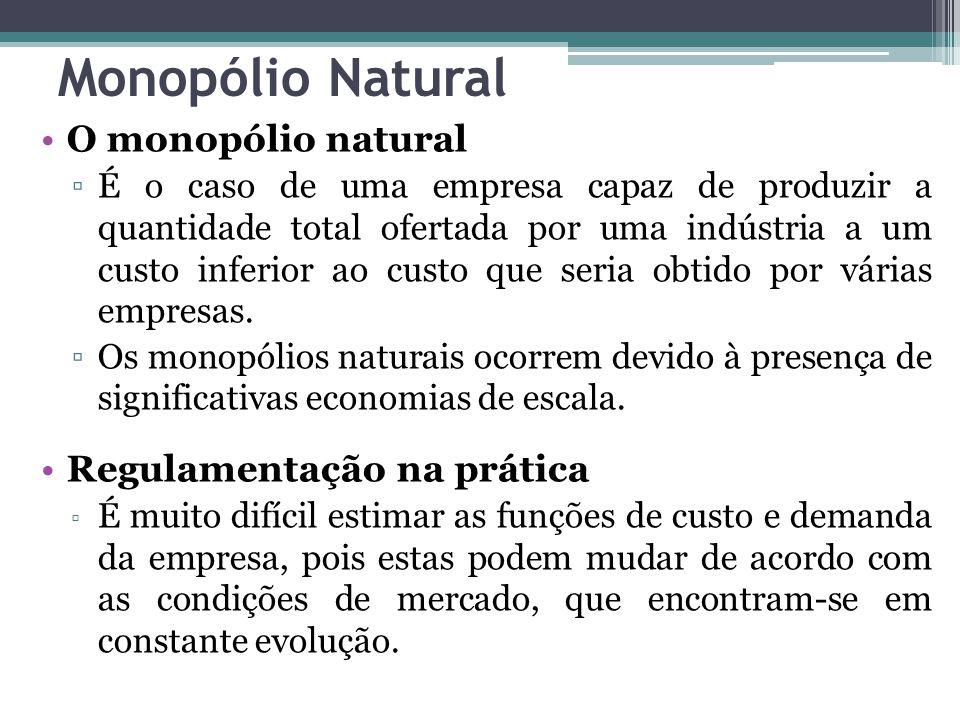 Monopólio Natural O monopólio natural ▫É o caso de uma empresa capaz de produzir a quantidade total ofertada por uma indústria a um custo inferior ao