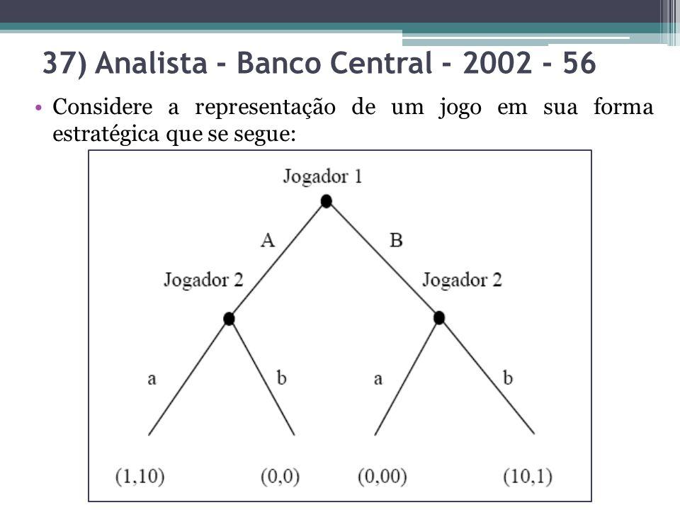 Considere a representação de um jogo em sua forma estratégica que se segue: 37) Analista - Banco Central - 2002 - 56