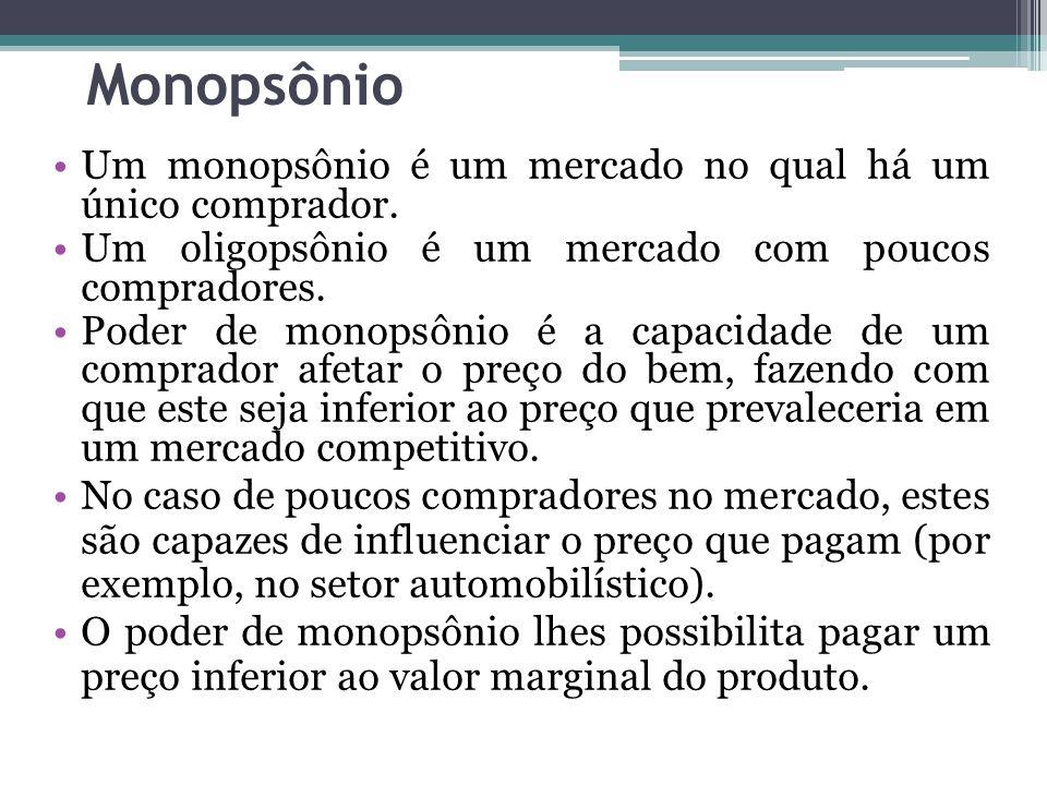 Monopsônio Um monopsônio é um mercado no qual há um único comprador. Um oligopsônio é um mercado com poucos compradores. Poder de monopsônio é a capac