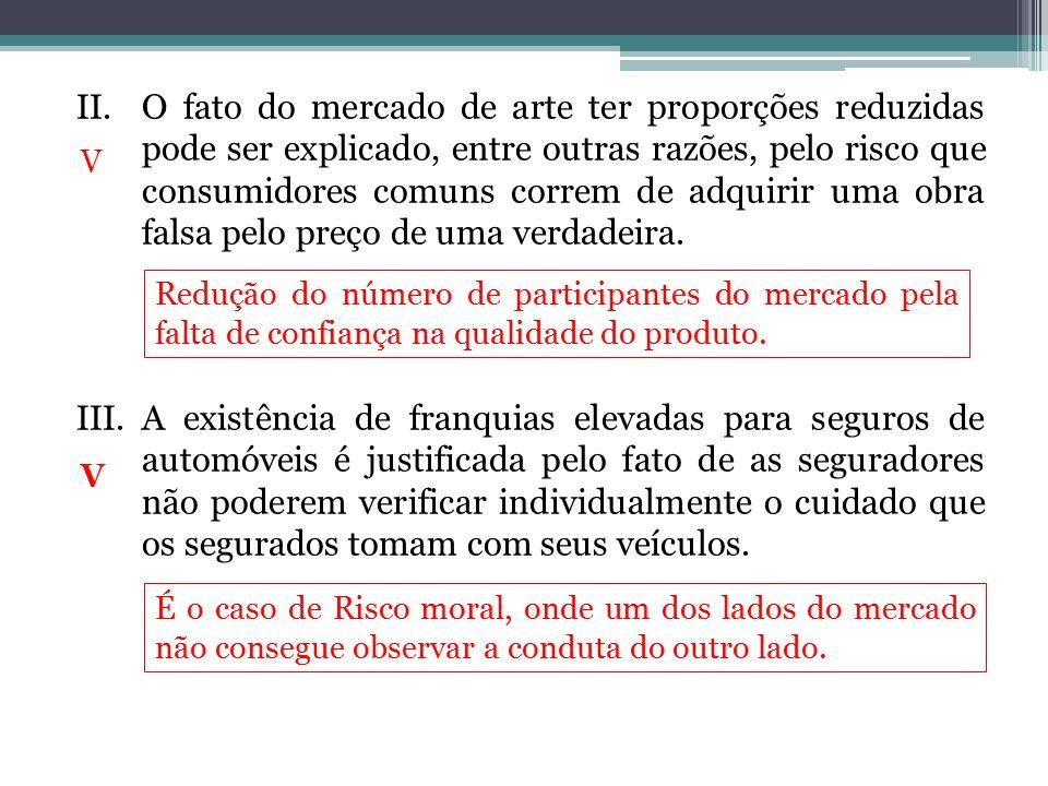 II.O fato do mercado de arte ter proporções reduzidas pode ser explicado, entre outras razões, pelo risco que consumidores comuns correm de adquirir u