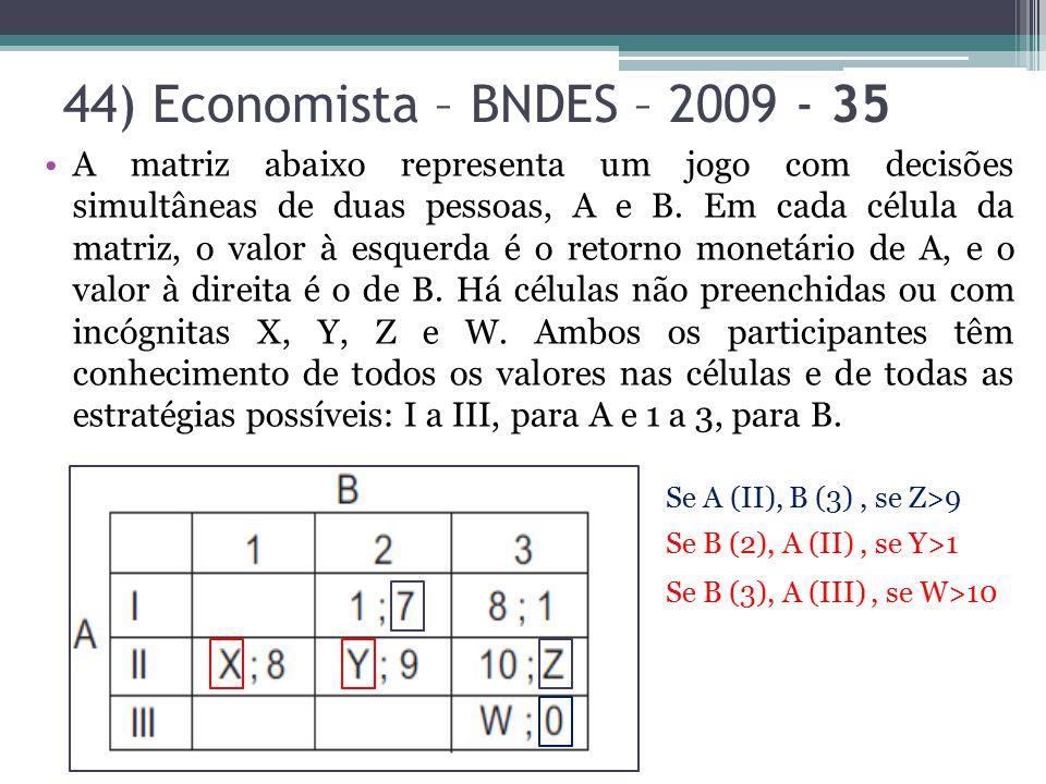 44) Economista – BNDES – 2009 - 35 A matriz abaixo representa um jogo com decisões simultâneas de duas pessoas, A e B. Em cada célula da matriz, o val