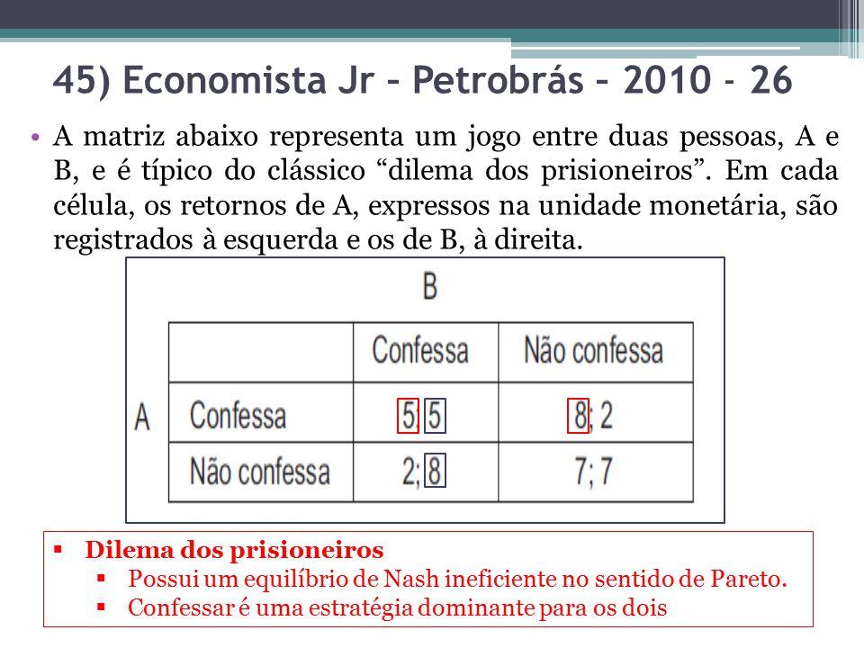 """45) Economista Jr – Petrobrás – 2010 - 26 A matriz abaixo representa um jogo entre duas pessoas, A e B, e é típico do clássico """"dilema dos prisioneiro"""