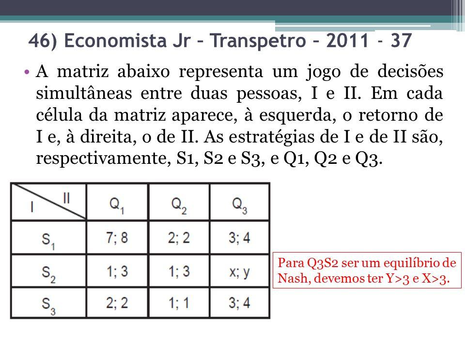 46) Economista Jr – Transpetro – 2011 - 37 A matriz abaixo representa um jogo de decisões simultâneas entre duas pessoas, I e II. Em cada célula da ma