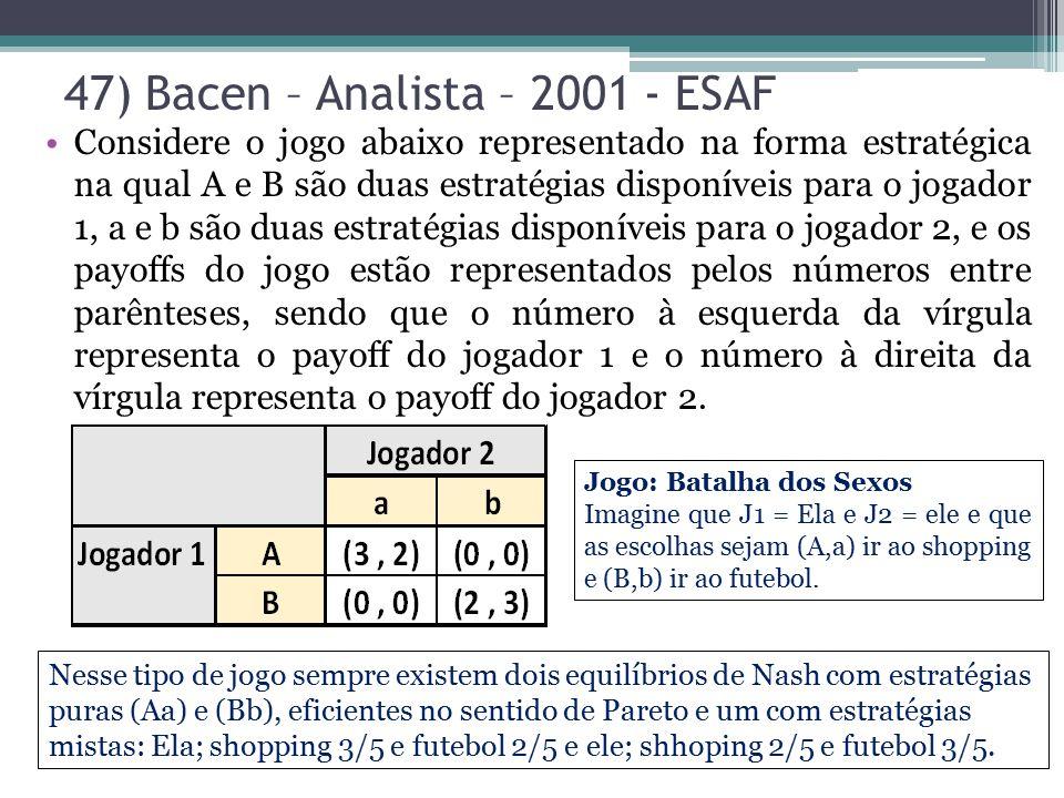 47) Bacen – Analista – 2001 - ESAF Considere o jogo abaixo representado na forma estratégica na qual A e B são duas estratégias disponíveis para o jog
