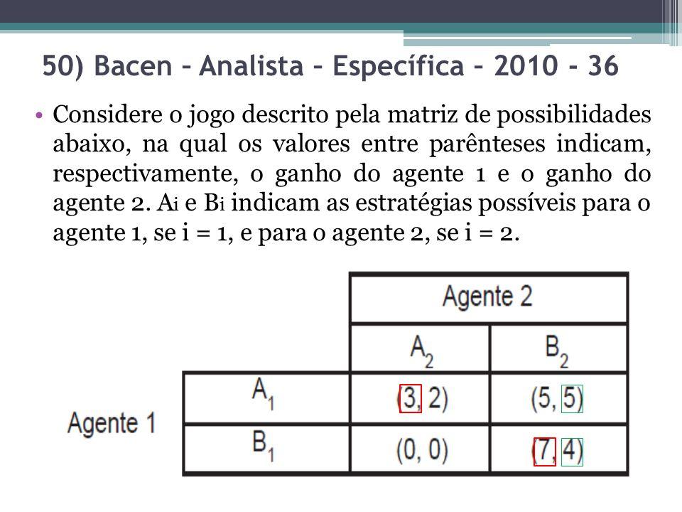 Considere o jogo descrito pela matriz de possibilidades abaixo, na qual os valores entre parênteses indicam, respectivamente, o ganho do agente 1 e o
