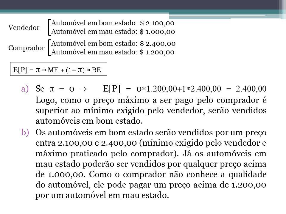 a)Se  0 ⇒ E[P] = 0  Logo, como o preço máximo a ser pago pelo comprador é superior ao mínimo exigido pelo vendedor,
