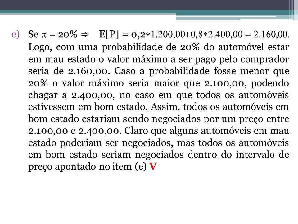 e)Se  20% ⇒ E[P] = 0,2  Logo, com uma probabilidade de 20% do automóvel estar em mau estado o valor máximo a ser