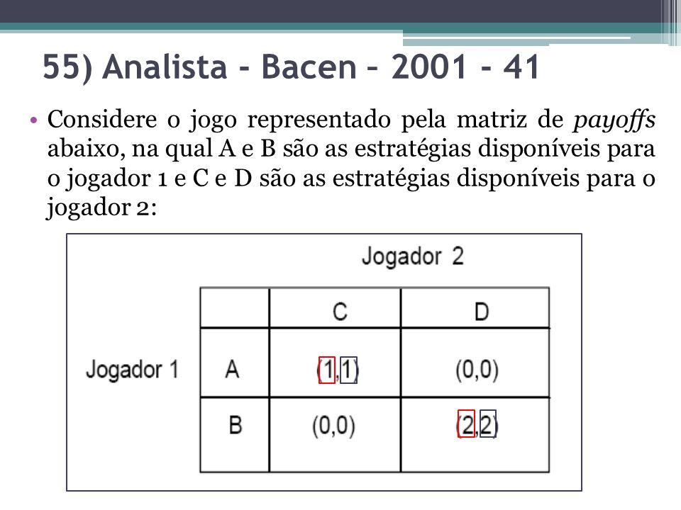 Considere o jogo representado pela matriz de payoffs abaixo, na qual A e B são as estratégias disponíveis para o jogador 1 e C e D são as estratégias