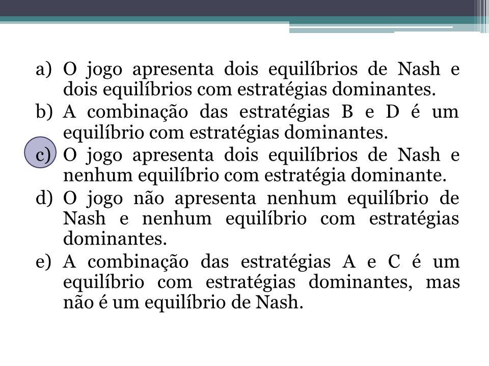 a)O jogo apresenta dois equilíbrios de Nash e dois equilíbrios com estratégias dominantes. b)A combinação das estratégias B e D é um equilíbrio com es