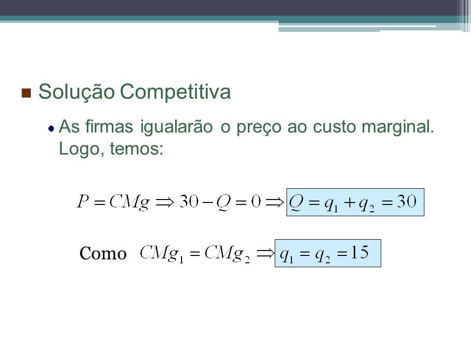 Solução Competitiva As firmas igualarão o preço ao custo marginal. Logo, temos: Como
