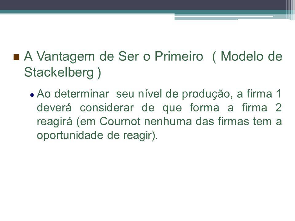 A Vantagem de Ser o Primeiro ( Modelo de Stackelberg ) Ao determinar seu nível de produção, a firma 1 deverá considerar de que forma a firma 2 reagirá