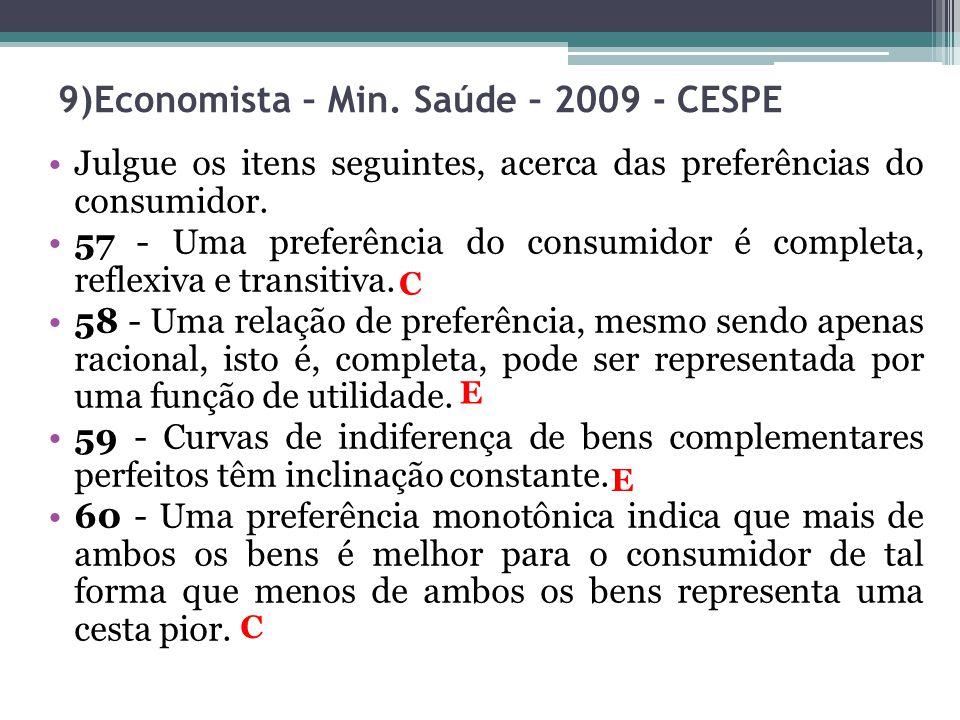 Julgue os itens seguintes, acerca das preferências do consumidor. 57 - Uma preferência do consumidor é completa, reflexiva e transitiva. 58 - Uma rela