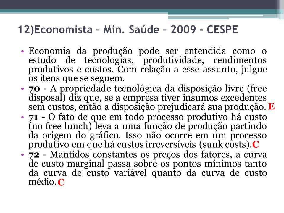Economia da produção pode ser entendida como o estudo de tecnologias, produtividade, rendimentos produtivos e custos. Com relação a esse assunto, julg