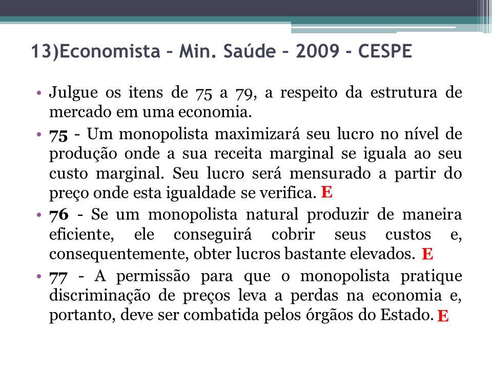 Julgue os itens de 75 a 79, a respeito da estrutura de mercado em uma economia. 75 - Um monopolista maximizará seu lucro no nível de produção onde a s