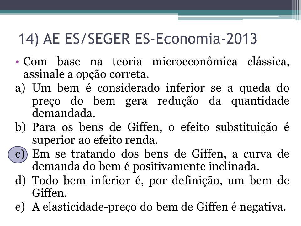 14) AE ES/SEGER ES-Economia-2013 Com base na teoria microeconômica clássica, assinale a opção correta. a)Um bem é considerado inferior se a queda do p